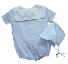 Petit Ami Boys Romper and Hat Blue Train Shadow Embroidered NWT NB 3m 6m