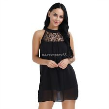 Women Summer Sleeveless Lace Patchwork Loose Casual Cocktail Party Mini Dress
