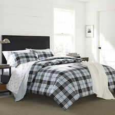 Transitional Classic Grey Blue Reversible Plaid Comforter Set Full/Queen King