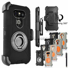 Black Rubber Rubberized Hard Case Cover w/Belt Clip Holster Stand For LG Phone