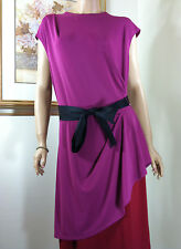NWT NARCISCO RODRIGUEZ COLORBLOCK RUCHED BOW TIE COCKTAIL DRESS Sz.L, XL NEW