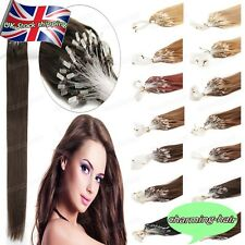 UK Premium Remy Human Hair Extensions Micro Ring Beads Loop Tip Straight Hair 7A
