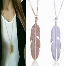 Women Feather Pendant Long Chain Necklace Sweater Statement Vintage Jewelry #G
