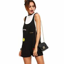 Womens Overalls Summer Casual Jumpsuits and Rompers Black Patch Scoop Neck Sleev