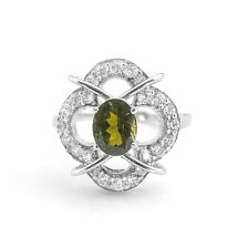 925 Sterling Silver Ring with Oval Cut Natural Green Tourmaline Gemstone eBay