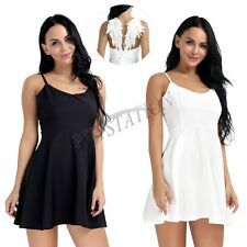 Women's Angel Wings Plunge V-neck Backless Skater Evening Party Cami Mini Dress