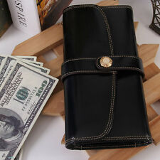 Two Folded Women Long PU Leather Solid Color Money Credit Cards Wallet Purse DP