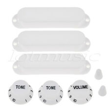 Guitar Single Coil Pickup Cover 1 Volume 2 Tone Knobs Switch Tip for Strat White