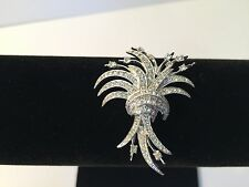 Vintage Silver-Tone Clear Pave Rhinestone Bundle of Wheat Bouquet Brooch Pin