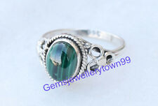 925 Sterling Silver Green Malachite Ring stone Ring Size 4 5 6 7 8 9 10 11 R6ML