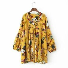Fashion Women Ethnic Style Hollow Stitching Printing Dress Lantern Sleeve Blouse