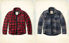NWT Hollister by Abercrombie&Fitch Quilted Flannel Jacket S Red Blue Plaid