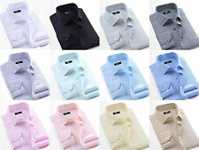 Fashion Mens Slim Fit Solid Color Long Sleeve Business Dress Shirts Casual Shirt