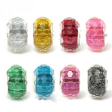 Fashion Shiny faceted Resin Silver core DIY Beads For European Charm Bracelet