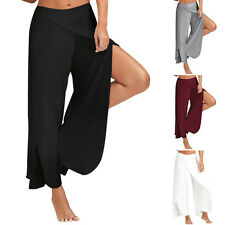 PLUS SIZE Women Lady Loose 4 Colors Layered Palazzo Wide Leg Pants Yoga Trousers