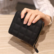 Stitching Grid PU Leather Bi-fold Wallet Short Style for Girls Women - Free Ship
