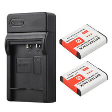 2x Rechargeable NP-BG1 Battery Camera + USB Charger For Sony DSC-H3 NP-FG1 New