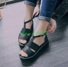 Womens Sandals Creeper Platform wedge Heel T-Strappy Buckle Shoes Open Toe size