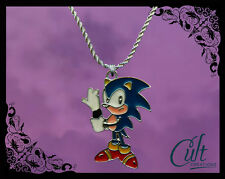 Sega Sonic the Hedgehog sterling silver / faux leather necklace with Sonic charm