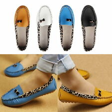 Women PU Leather Leopard Casual Slip On Dolly Ballet Flat Heel Loafer Shoes XP
