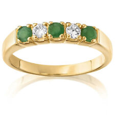 Gold Plated Alternating Emerald & Cubic Zirconia ring Giani jewellery