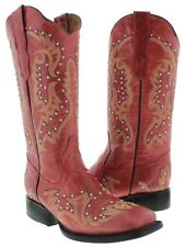 Womens Red Stitched Studded Western Cowboy Leather Square Toe Boots