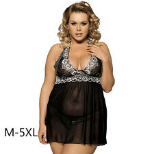 Women Plus Size Sexy Underwear Sheer Lingerie Floral Lace Sleepdress Gstring 5XL