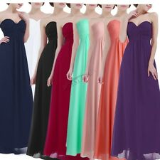 Women Ladies Long Evening Party Formal Gowns Strapless Prom Bridesmaid Dress