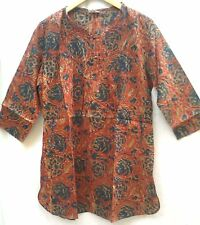 Anokhi Terracotta Red Floral Block print Indian cotton Smock style Blouse Top