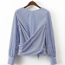 2017 Sexy Women Striped Backless Bow Long Sleeve Shirt Fashion Blouse Party Tops