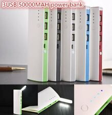 50000mAh 3 USB Backup External Battery Power Bank Pack Charger for Cell Phone X