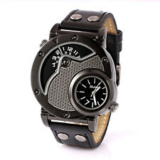 Oulm Cool New Men's Double Time Leather Sports Analog Quartz Wrist Watch