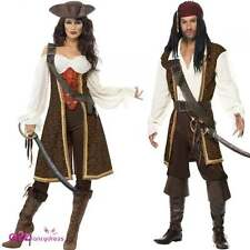 Mens Womens High Seas Pirate Wench Buccaneer Deluxe Adult Fancy Dress Costume