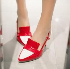 Womens Pointy Toe OL shoes Cut Out Slingback Color Stitching slim heels sandals