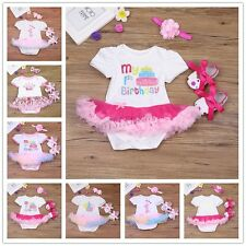 Baby Girl 1st Birthday Christmas Party Tutu Dress Romper Headband Outfit Shoes