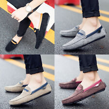 Men Slip On Casual Oxfords Hollow Leather Loafers Driving Moccasins Suede Shoes