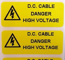 Electrical Safety Warning Labels - SOLAR DC D.C CABLE - Yellow 50mm x 20mm