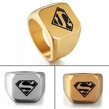 Size 8-12 Fashion Ring Men's Punk Stainless Steel Superman Rings Jewelry Band