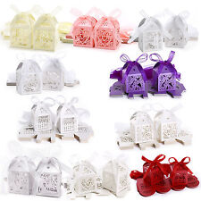 Hollow Candy Gift Boxes W/ Ribbon Wedding Party Favor Candle Mini Cupcake Holder
