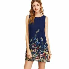 Women New Arrival Keyhole Back Flower Print O-Neck Sleeveless Dress