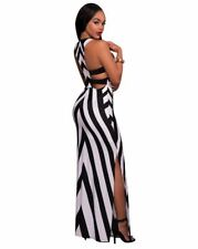 Black White Color Stripe Pattern Spaghetti Strap Ankle Length Dress For Women