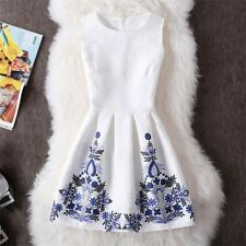 Printed Sleeveless Patchwork White Blue Color Knee Length Dress For Women