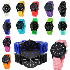 Unisex Men Women Silicone Rubber Jelly Gel Quartz Analog Sports Wrist Watch