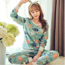 Fashion Women Sleepwear Pajamas Set Ladies Long Sleeve Cotton Cute Nightgown
