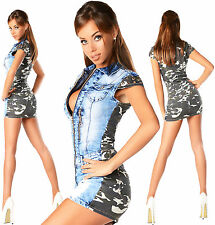 Sexy New Womens Denim Army Jeans Jeans Mini Dress Double Look G 864