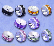 Wholesale Lots Gift  Mixed SP Rhinestone Rondelle Spacers Beads 8x4mm