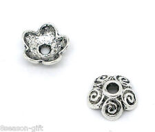 Wholesale Lots Gift HX Silver Tone Flower Bead Caps 10x4mm Findings
