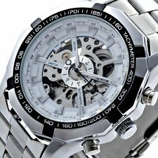 Luxury Men Stainless Steel Skeleton Automatic Mechanical Sport Wrist Watch Black