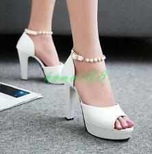 Womens Open Toe Pump High chunky Heel Pearl ankle Strap buckle Party Shoes size