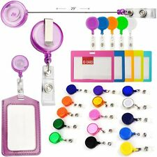 50pcs Solid Color Retractable Pull Reels With Belt Holder Key ID Badge Card Clip